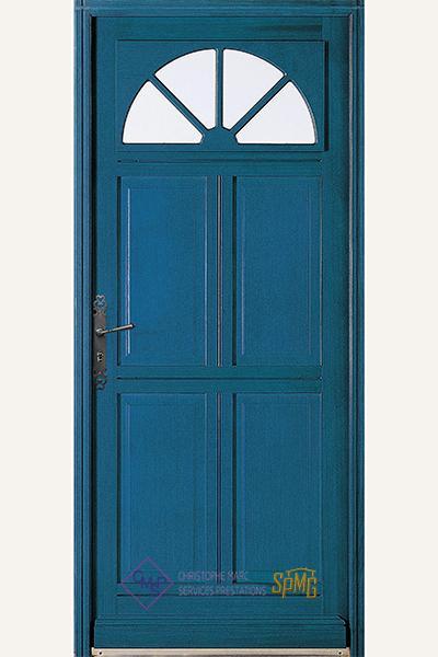 Porte entrée bois vitrée Iris