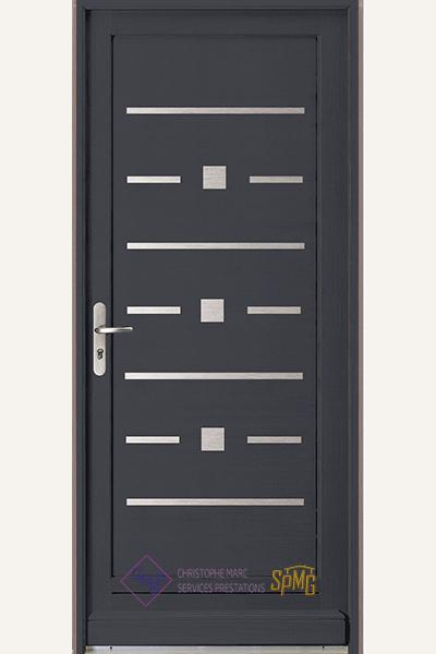 Porte entrée bois option Reflex