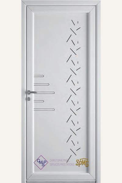 Porte entrée PVC Givre